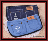 Wholesale New Cosmetic Case Lovely Designed Jean Canvas Bag Big Capacity Pencil case YL