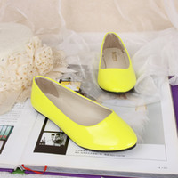 Wholesale Fashion Candy Color Shoes Women Pointed Toes Flat Heel Solid Color Women PU Casual Shoes A07
