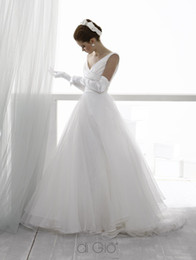Wholesale Charming Wedding Dresses A Line V Neck Ruffle Tulle Floor Length Bridal Dresses Le Spose Di Gio Z1767
