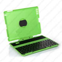 Wholesale A2 Swivel Stand Detachable Bluetooth Wireless Keyboard Case QWERTY Keypad with Degree Rotary Case Cover for iPad Green