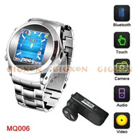 Wholesale Unlocked Quadband Bluetooth Touch Metal Watch Mobile Phone Camera spy watch