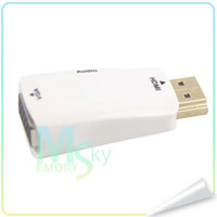 Wholesale Hot Sale HDMI to VGA Audio adapter mini convert Adapter to phones Colors in Stock