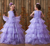 Wholesale Purple jewel sleeveless bow sweep length flower girl s dress organza cupcake ball gown dress cute formal occasion dress birthday party dress