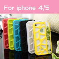 Wholesale Flip Cover leather Case back plastic hollow out Hybrid Luxury logo Candy Color for iphone4 G iPhone5 G Unique Design