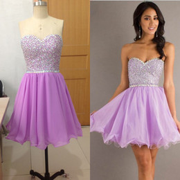 Wholesale Fashion Custom Made Sweetheart Light Purple Short Mini Beaded crystal stone Girls Prom Pageant Evening Cocktail Homecoming Gown Dress