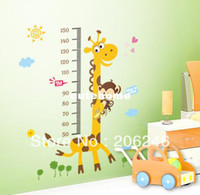 Wholesale 100 cm Large Size Giraffe Baby Kid Height Ruler Measure Chart Wall Sticker Decals