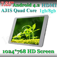 7.85Inch Quad Core Android 4.2 7.85 Inch A31S Quad Core Tablet PC ARM Cortex A7 Android 4.2 AU IPS Capacitive screen 1024*768 dual camera tablet pc In China