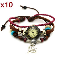 Alloy Flowers Chirstmas Best Gift Charm Leather Bracelet Lady Woman Wrist Watch Fashion Quartz Pirate Design New Arrival Whole Sale Free Shipping +Tracking Number