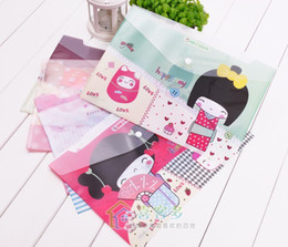 Wholesale Freeshipping New japanese girl A4 documents PVC file bag File folder stationery Filing Production
