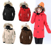 Wholesale Hot selling Classic Womens Monte Bellos Parka down jackets coats Real Raccoon fur collar Winter warm size XS XL