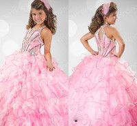 Wholesale 2013 Kids Pageant Dresses Pink Beaded Little Girl Puffy Pageant Dresses Organza Multi Layered Ball Gowns RG
