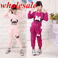 Wholesale Children autumn Minnie Mouse lace clothing set hoodies sweatshirt pants kids cooton sports suit pink red sets