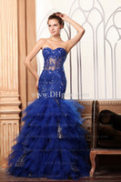 Model Pictures Sweetheart Tulle 2013 Fall Blue Sweetheart Tulle Sheer Lace Prom Dress Sheath Mermaid Beading Layered Graduation Gowns