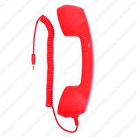 Wholesale 3 mm Audio Jack Mic Retro POP Phone Handset TelePhone With Retail Box For iPhone G G Gs Smartphone