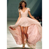 Wholesale 2012 New Sexy Evening Dresses Mini Miranda Kerr hi low Chiffon V Neck Cap Sleeves Prom Dresses