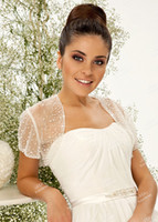 Wholesale Perfect Beads Short Sleeves Wedding Jacket Bridal Wedding Shawl Lace Wedding Accessories