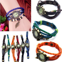 Wholesale 6X Vintage Weave Wrap Around Leaf Charms Beads Leather Quartz Wrist Watch Bracelet Vintage Watch Unisex JW05046
