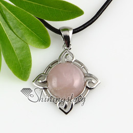 round openwork rose quartz glass opal agate semi precious stone necklaces pendants genuine stone jewelry Spsp2232cy5
