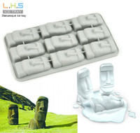 Ice Cream Tubs statues - Statuesque Ice Tray Easter Island Stone Statue Ice Cube Mold Maker Silicone Party Tools