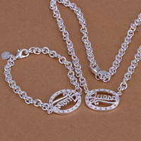 925 silver jewelry - High Quality Jewelry Set Silver Egg Pendant Chain Necklace Bracelet Jewelry Set Silver Gift Set