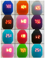 12colors Plastic rubber ultra- thin touch led sports watch el...