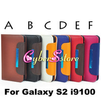 Wholesale Wallet Purse Litchi Lady Bag Hand Strap PU Leather Case Cover With Credit Card Slot Slots Pouch For Samsung Galaxy S2 II i9100