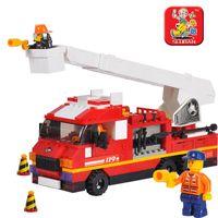Plastics   Small luban blocks fire ladder truck forcedair child educational toys assembling insert toy