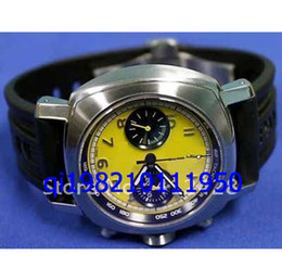 free shippng luxury Excellent New Stainless Steel Granturismo Chronogrph Wristwatch black Leather Dial Yellow & Black quartz watch
