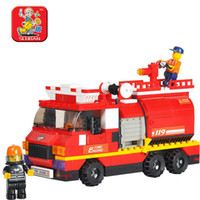 Plastics   Small luban blocks forcedair water pot fire truck child educational toys assembling