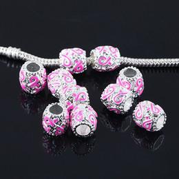 Ruban rose sein à vendre-10mm 100pcs bijoux en émail rose ruban Spacer gros talon perles plaqué argent perles ruban de cancer du sein pour le bracelet européen