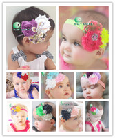 Wholesale New Baby Girl Headbands Style TOP BABY Rags Rose Flower Rhinestone Headbands Hair Hoop Kids Chiffon Shabby Headbands Headwear