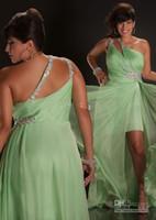 Plus Size Prom Dresses One Shoulder Beaded Chiffon Hi- Lo Sli...