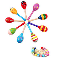 Wholesale 10pc Wooden Maraca Wood Rattles Kid Musical Party Favor Child Baby Shaker Toy Beach HZC041
