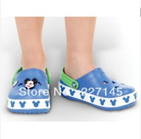 Wholesale FEE SHIPPING New comfortable mickey hole kid crocband clog garden kid sandals slippers shoes beach RetailE
