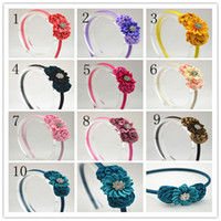 Wholesale Trail order colors satin ribbon flowers headband silk rosettes with Sparkling Rhinestone Pearl hair accessory