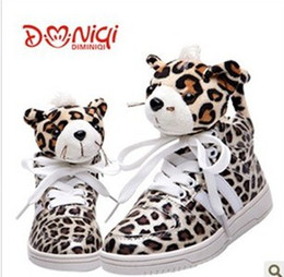 Wholesale New winter shoes BOY GIRL sneakers leopard head parent children shoes cute tail can mix size