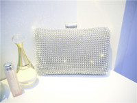 Wholesale Hot Luxury Women s Ladies Fashion Swarovski Silver Crystal Rhinestone Evening Clutch Bag Purse Handbag Shoulderbag Wedding Bridal Bag Favors