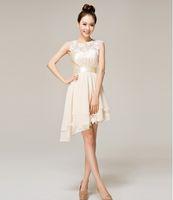 A-Line short dresses - bridesmaid chiffon short dresses Cocktail Party evening champagne hollow dresses