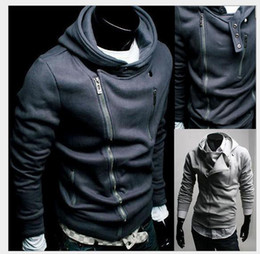 Wholesale 2014 Fashion Korean Men Hoodie Cardigan Hooded Pure Color More Inclined Zipper Long Sleeve Casual Slim Fit For Men Hoodies A17