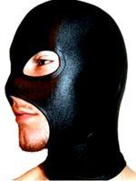 al por mayor zentai la boca-Spandex sexy Lycra spandex Zentai negro metálico abierto moutheyesnose Hood / máscara