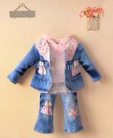 Wholesale Fashion designer baby boy kids clothes uk tracksuits Girl s clothing sets jeans casual Sport suits jacket hoody lace top pants