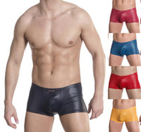 Cheap Men Mens Faux Leather Boxer Best Boxers & Boy Shorts Sexy Man Leather Like Trunks