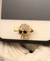For Apple iPhone button skull - Diamond Terrible skull with high quality alloy button stickers for Iphone G S G IPAD