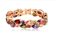 Wholesale 18K Gold Plated My Mona Lisa Multicolor CZ stones Cluster Bracelet cm