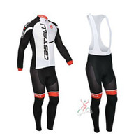 Wholesale castelli white amp black Winter Thermal Fleece Long Sleeved Cycling Jersey Cycling wear Bib pants