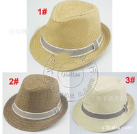 Wholesale 2013 hot selling Children Summer Fedora Hats with bands Kids Jazz Caps Baby Straw Fedora hats children dicers