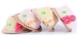 online shopping 2013 hot selling Factory price direct Baby Flower Caps Baby Hat Kids Straw Fedora Hat Girls Sun Hat Children Summer Hat Jazz Cap
