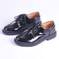 big boys dress shoes - Male child lacing painting leather shoes performance shoes black children big boy flower formal dress children shoes