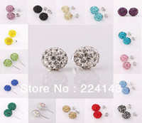 Wholesale 6pcs mixed color sterling silver earings Shamballa mm crystal loverly girls s stud earings