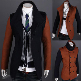 Wholesale Boutique new men personality color fashion leisure double breasted trench coat asdf